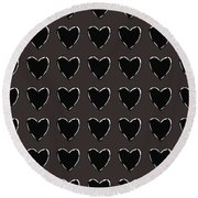 Black And White Hearts 1- Art By Linda Woods Round Beach Towel