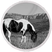 Black And White Horse Grazing In Wyoming In Black And White  Round Beach Towel