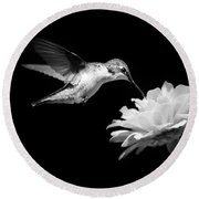 Round Beach Towel featuring the photograph Black And White Hummingbird And Flower by Christina Rollo