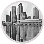 Black And White In The Heart Of Tampa Bay Round Beach Towel by Frozen in Time Fine Art Photography