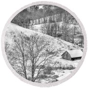 Black And White In Winter Round Beach Towel