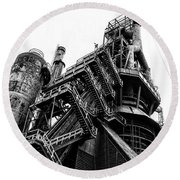 Black And White Industrial - Bethlehem Steel Round Beach Towel by Bill Cannon