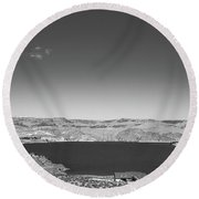 Black And White Landscape Photo Of Dry Glacia Ancian Rock Desert Round Beach Towel by Jingjits Photography
