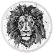 Round Beach Towel featuring the mixed media Black And White Lion Head  by Marian Voicu