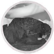 Round Beach Towel featuring the photograph Black And White Longs Peak Detail by Dan Sproul