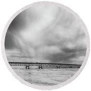 Round Beach Towel featuring the photograph Black And White Mackinac Bridge Winter by John McGraw