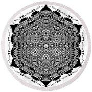 Round Beach Towel featuring the digital art Black And White Mandala 15 by Robert Thalmeier