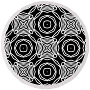 Black And White Modern Roses- Pattern Art By Linda Woods Round Beach Towel