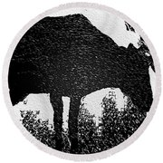 Black And White Moose Round Beach Towel