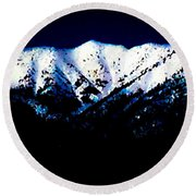Round Beach Towel featuring the mixed media Black And White Mountains by Jennifer Lake