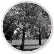 Black And White Nature Round Beach Towel