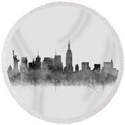Round Beach Towel featuring the digital art Black And White New York Skylines Splashes And Reflections by Georgeta Blanaru
