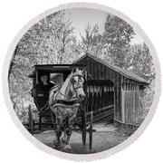 Black And White Of A Wooden Covered Bridge And Amish Horse And Buggy Round Beach Towel