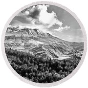 Black And White Of Coldwater Lake And Mt. St. Helens Round Beach Towel