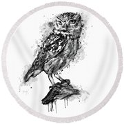 Round Beach Towel featuring the mixed media Black And White Owl by Marian Voicu