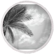 Black And White Palm Round Beach Towel