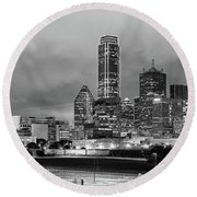 Black And White Panorama Of Downtown Dallas Skyline From South Houston Street - Dallas North Texas Round Beach Towel