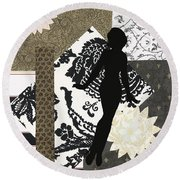 Black And White Paper Doll Round Beach Towel