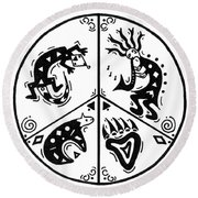 Black And White Peace And Love Round Beach Towel by Susie WEBER