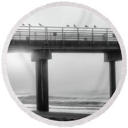 Round Beach Towel featuring the photograph Black And White Pier Alabama  by John McGraw