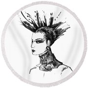 Round Beach Towel featuring the digital art Black And White Punk Rock Girl by Marian Voicu