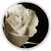 Black And White Rose 5534.01 Round Beach Towel by M K  Miller