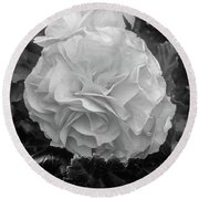 Black And White Rose Round Beach Towel