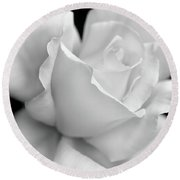 Round Beach Towel featuring the photograph Black And White Rose Flower by Jennie Marie Schell