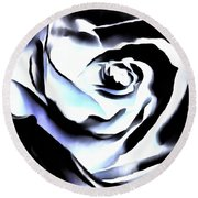Round Beach Towel featuring the photograph Black And White Rose - Till Eternity by Janine Riley