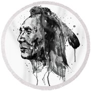 Round Beach Towel featuring the mixed media Black And White Sioux Warrior Watercolor by Marian Voicu