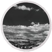 Black And White Small Town  Round Beach Towel