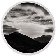 Round Beach Towel featuring the photograph Black And White Sunrise by Joseph Hollingsworth