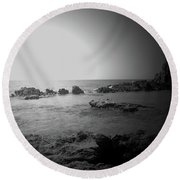 Black And White Sunset In Spain Round Beach Towel