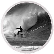 Black And White Surfer Round Beach Towel