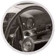 Black And White Thunderbird Steering Wheel  Round Beach Towel