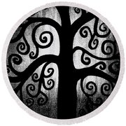 Black And White Tree Round Beach Towel