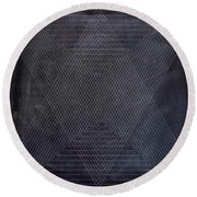 Black And White Triangular Line Art Round Beach Towel