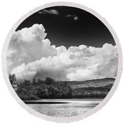 Black And White Vienna Maine Flying Pond With Storm Clouds Fine Art Print Round Beach Towel by Keith Webber Jr