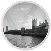 Black And White View Of Thames River And House Of Parlament From Round Beach Towel