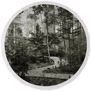 Black And White Vintage Edit -walk In Peace  Round Beach Towel