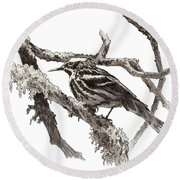 Black-and-white Warbler Round Beach Towel