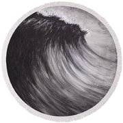Black And White Wave Guam Round Beach Towel
