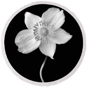 Black And White Wildflower Round Beach Towel