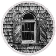 Black And White Window Round Beach Towel