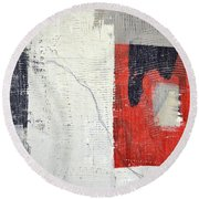 Round Beach Towel featuring the painting Black And White With Red Box by Michelle Calkins