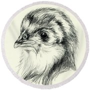 Black Australorp Chick In Charcoal Round Beach Towel