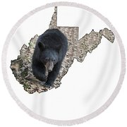 Black Bear Coming Close Round Beach Towel