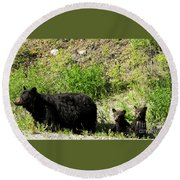 Black Bear Family Round Beach Towel