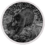 Black Bear Salmon Seeker Round Beach Towel