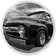Black Beauty - 1956 Ford F100 Round Beach Towel